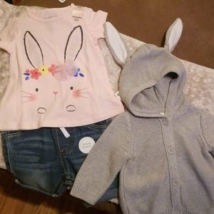 Adorable bunny shirt Jean long shorts and sweater